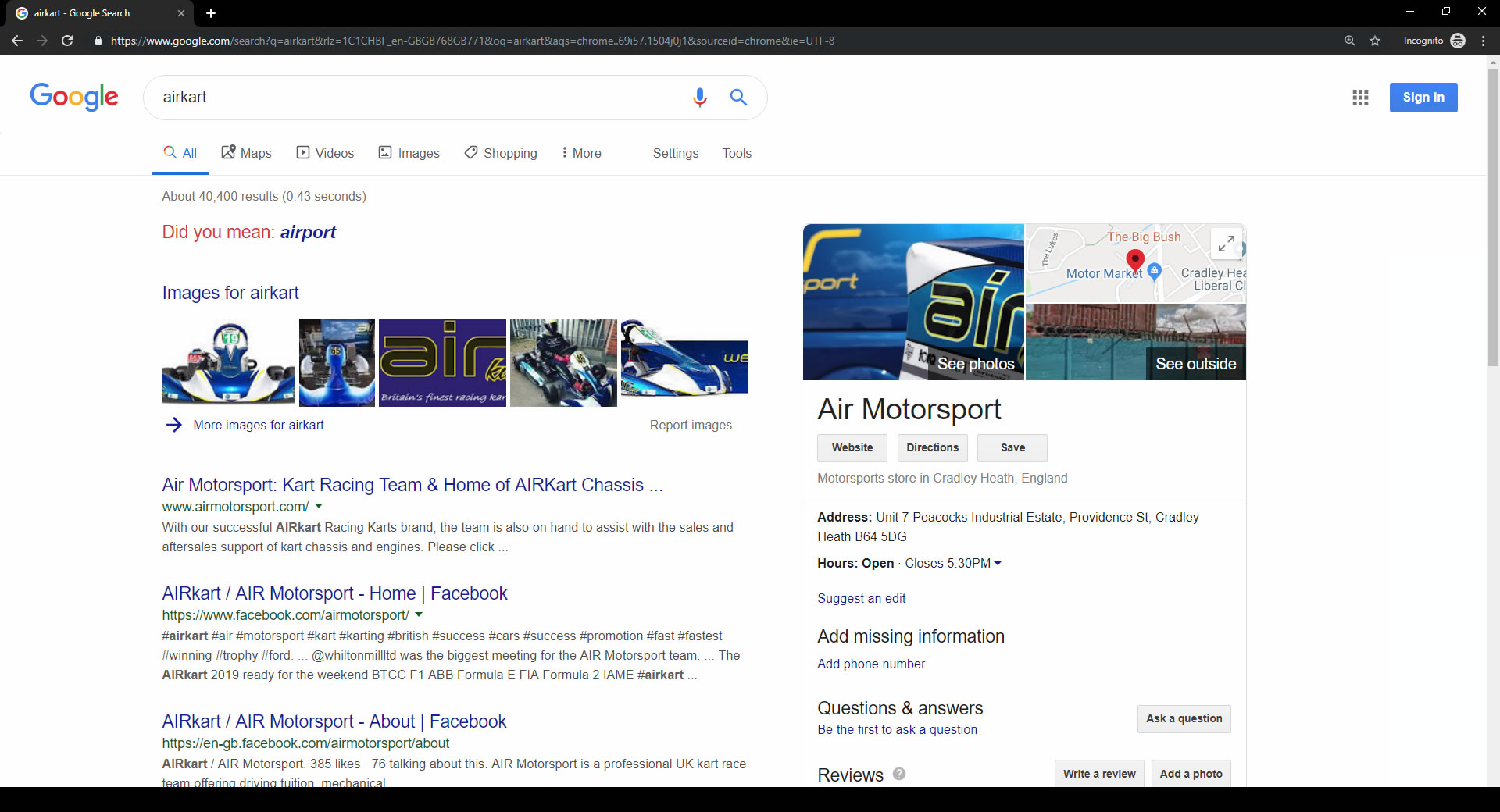 Airkart Images in Search Results